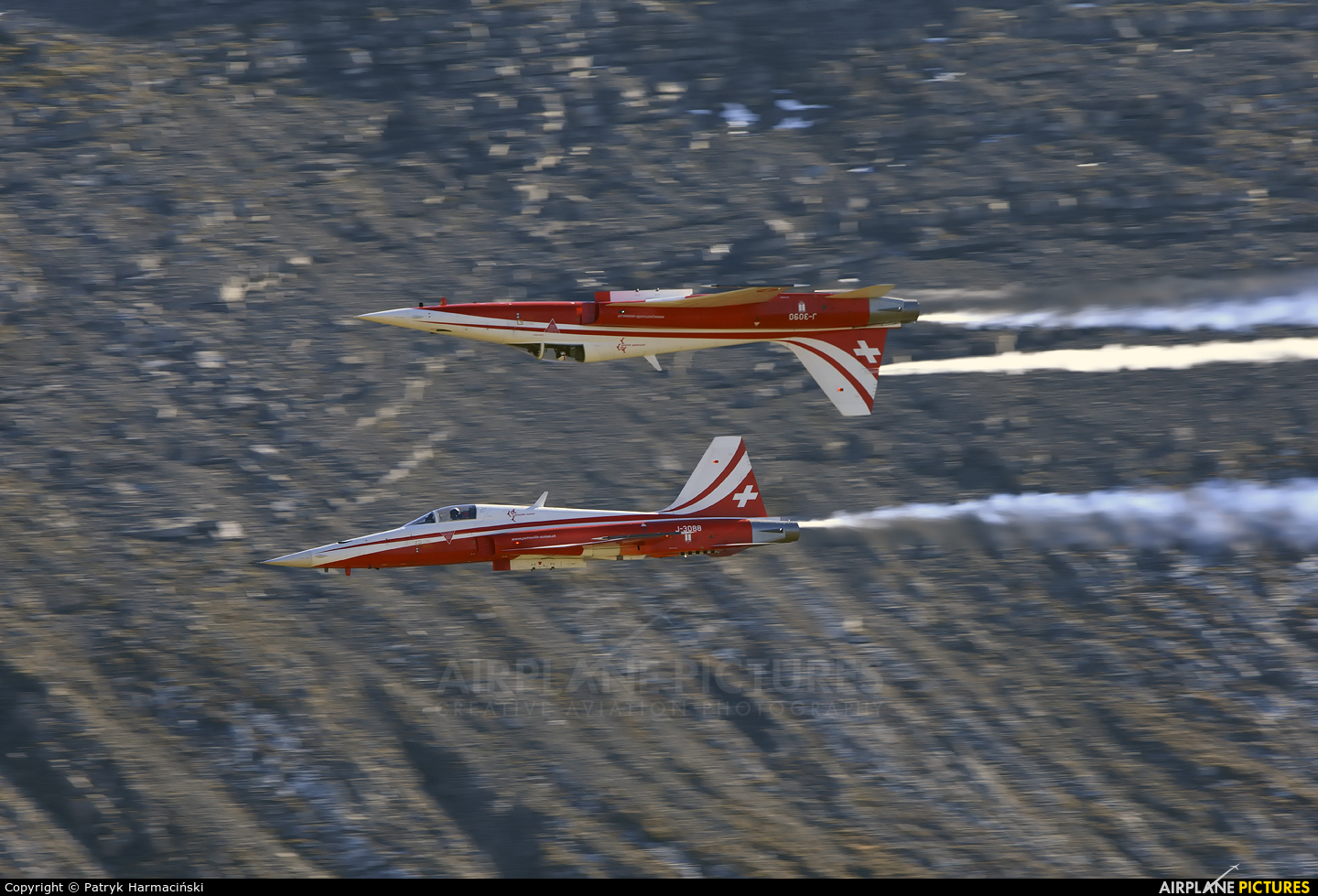 Switzerland - Air Force:  Patrouille de Suisse J-3088 aircraft at Axalp - Ebenfluh Range
