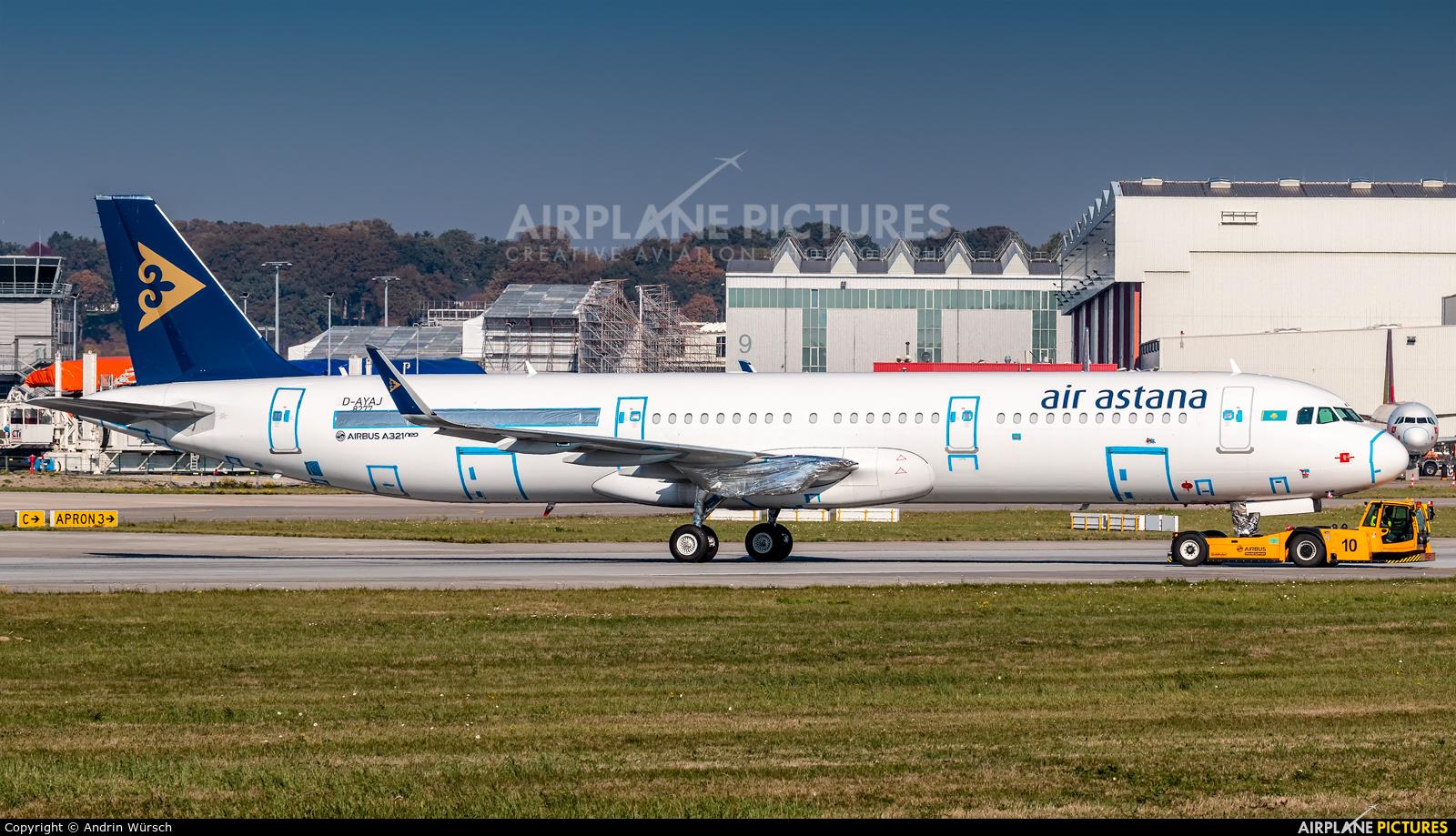 Air Astana D-AYAJ aircraft at Hamburg - Finkenwerder
