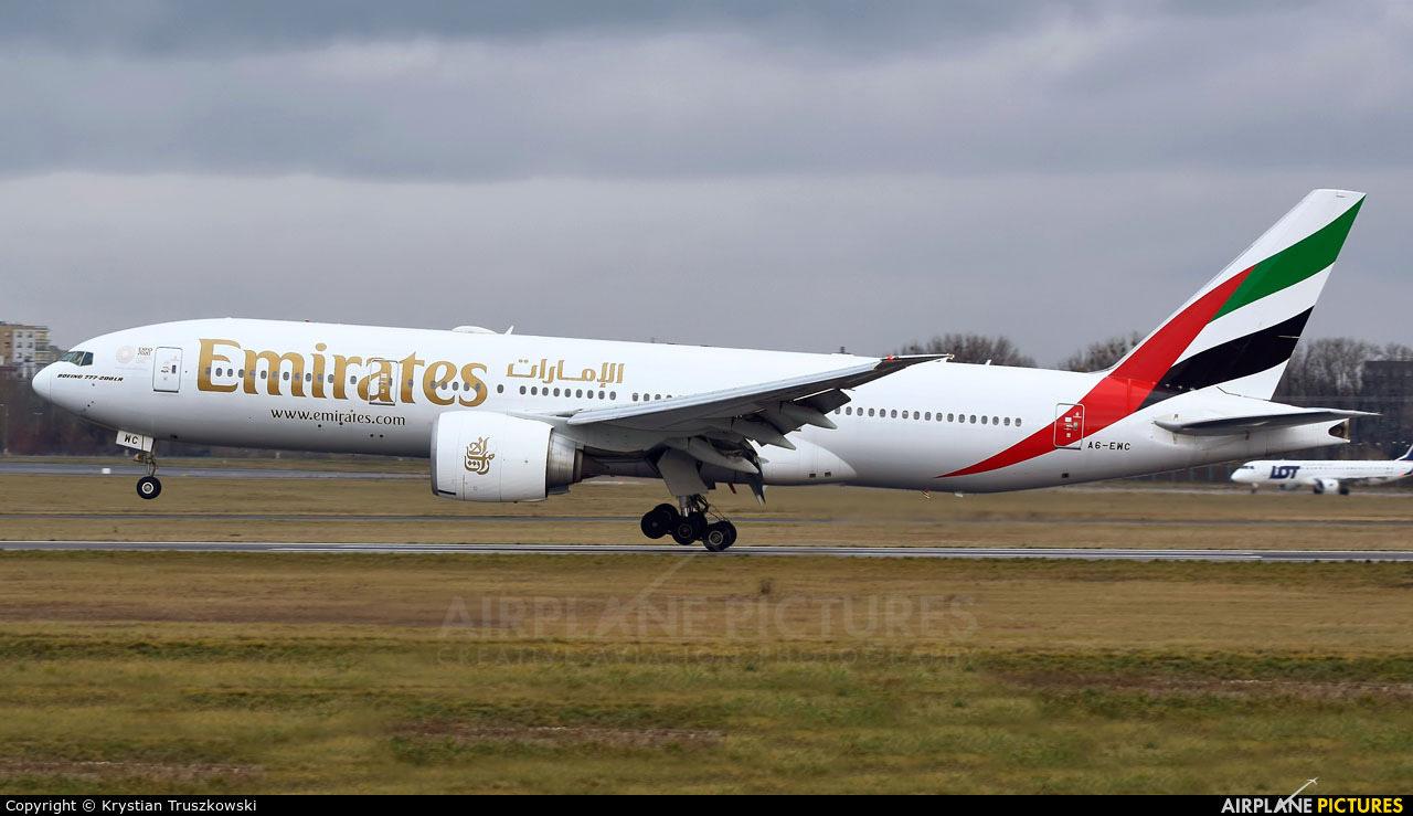 Emirates Airlines A6-EWC aircraft at Warsaw - Frederic Chopin