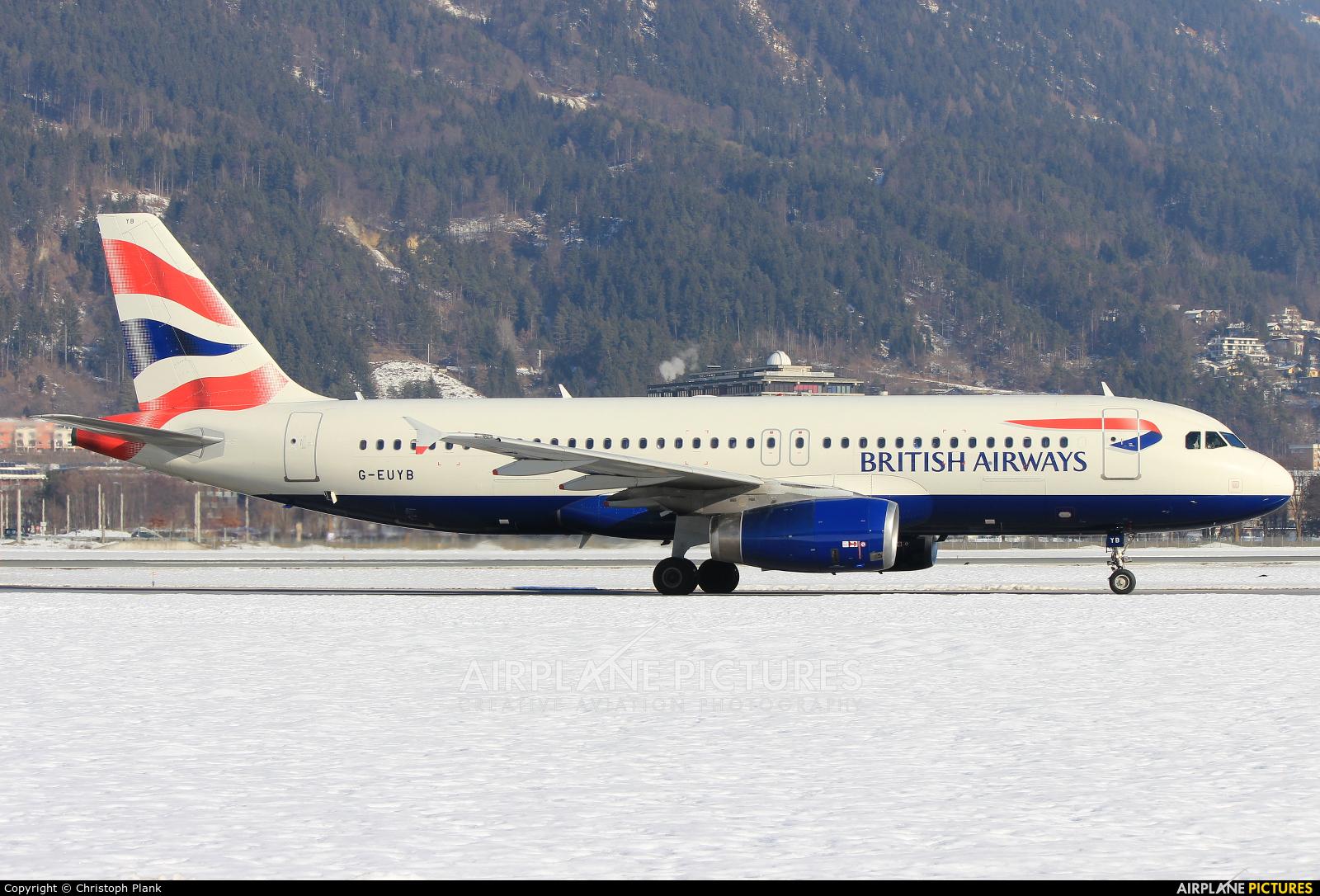 British Airways G-EUYB aircraft at Innsbruck