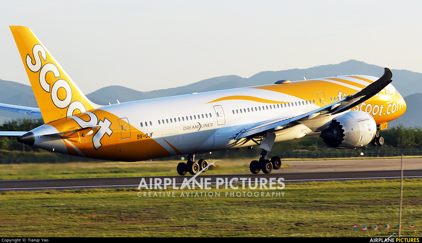 Scoot 9V-OJF aircraft at Nanjing Lukou International Airport