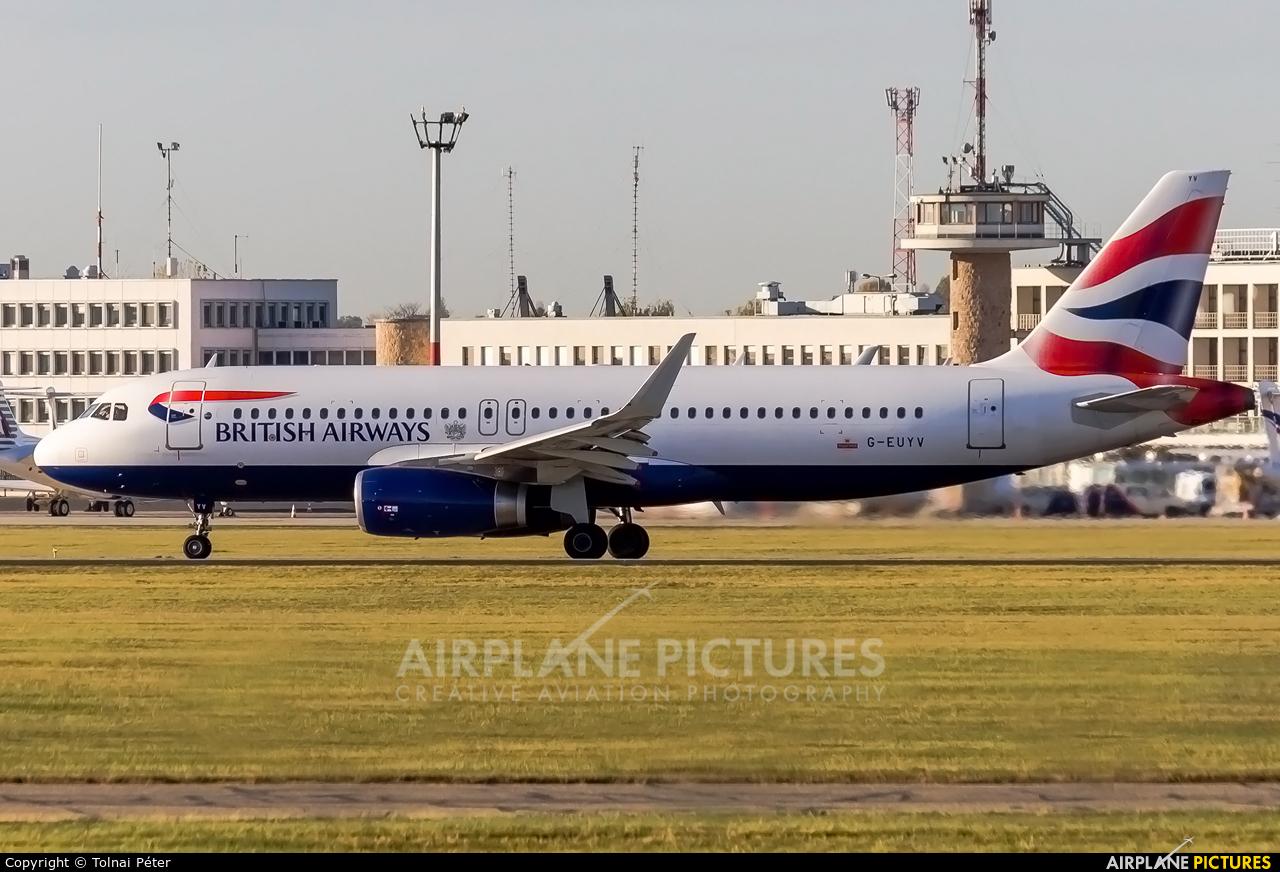 British Airways G-EUYV aircraft at Budapest Ferenc Liszt International Airport