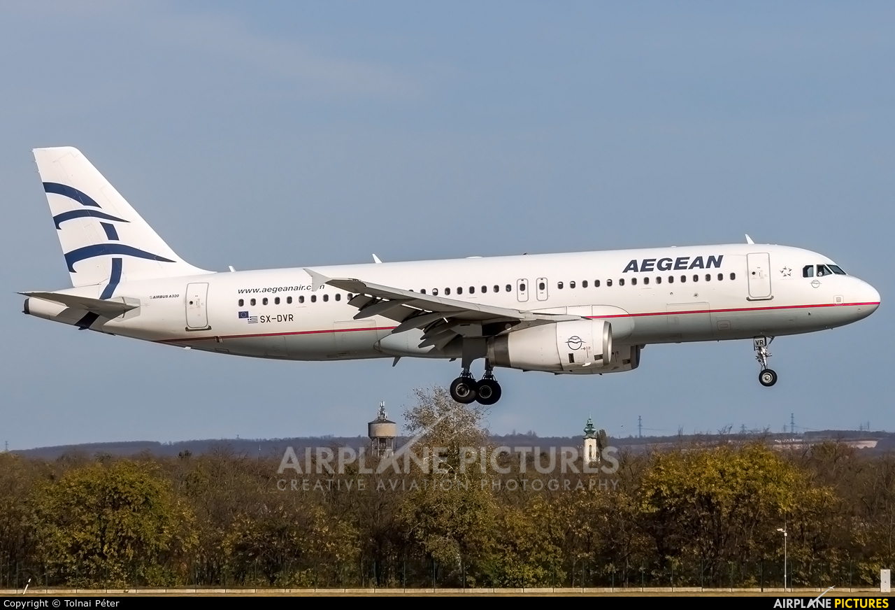 Aegean Airlines SX-DVR aircraft at Budapest Ferenc Liszt International Airport