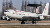 NATO's Boeing E-3 Sentry performs touch&go at Pardubice Airport
