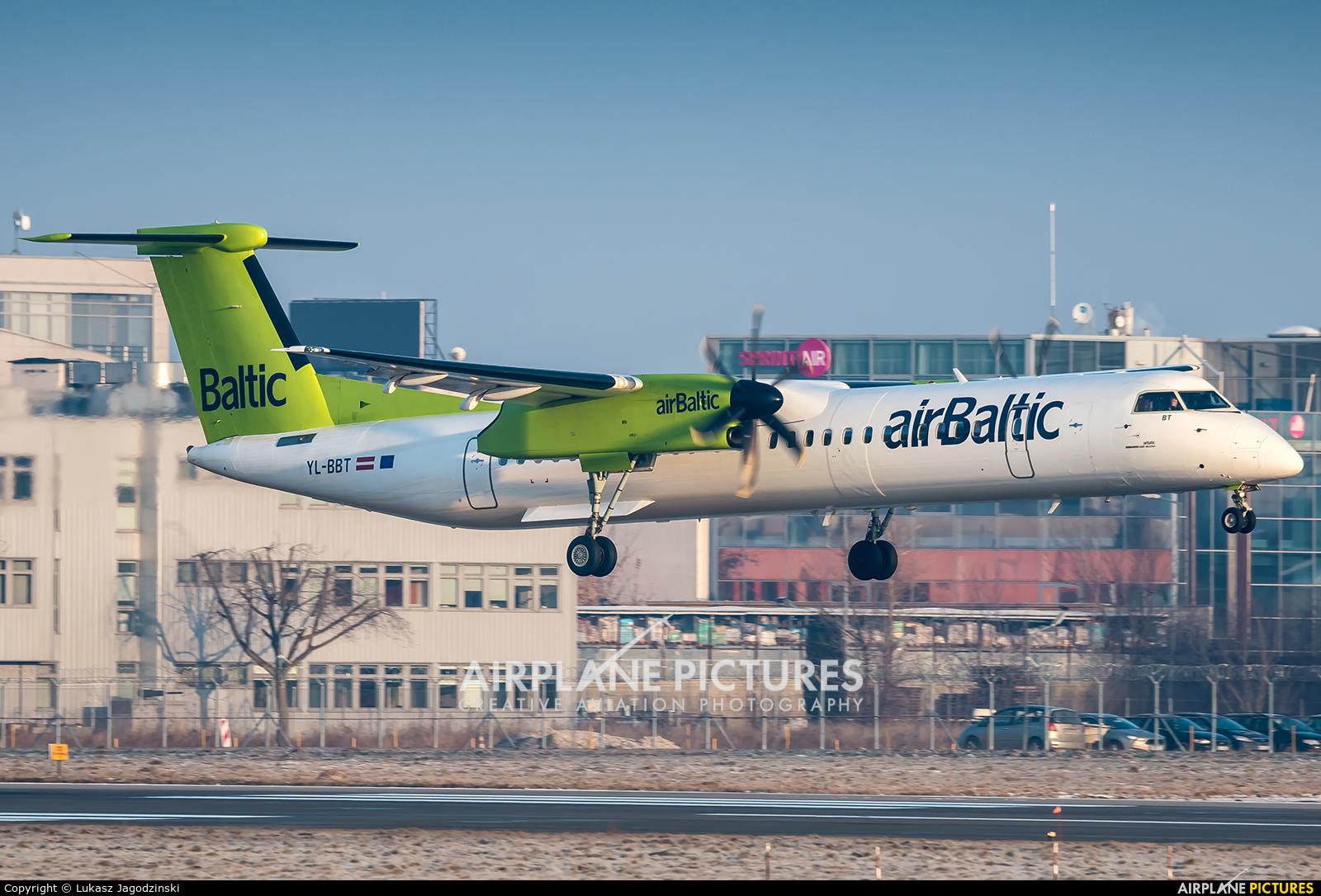 Air Baltic YL-BBT aircraft at Warsaw - Frederic Chopin