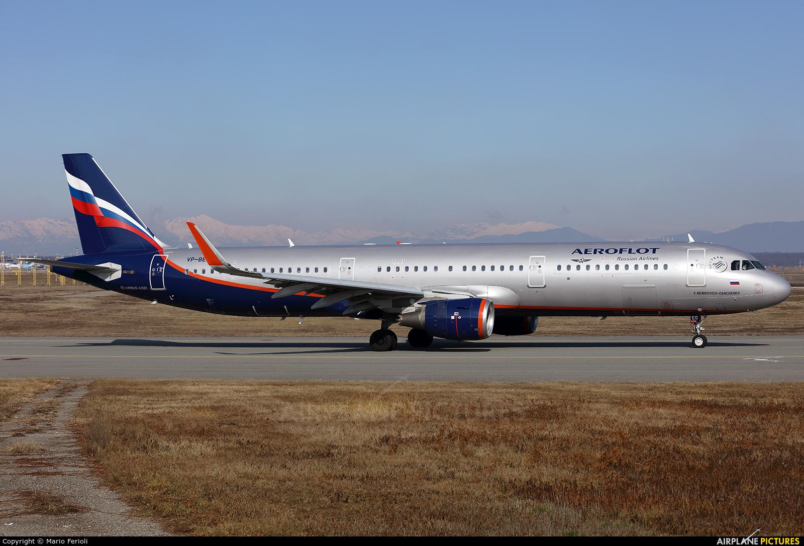 Aeroflot VP-BEG aircraft at Milan - Malpensa