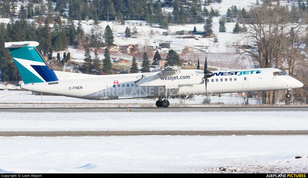 WestJet Encore C-FNEN aircraft at Kelowna, BC