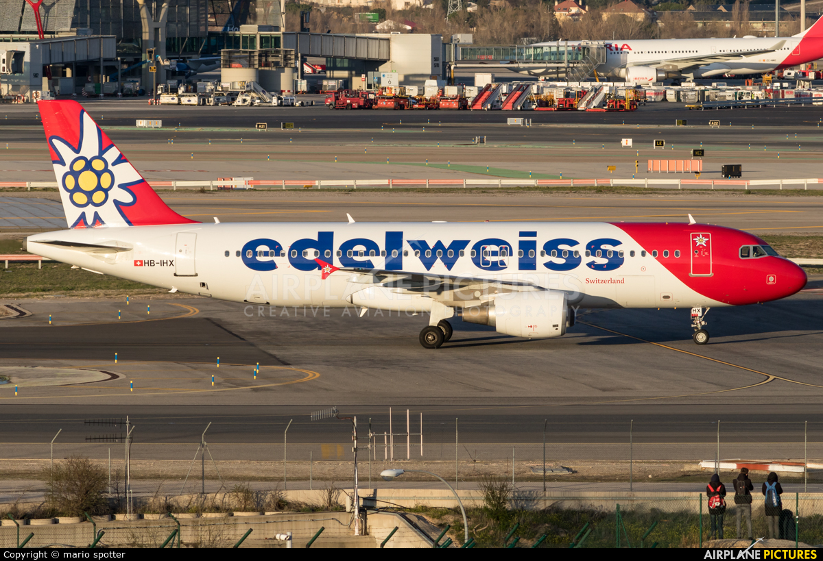 Edelweiss HB-IHX aircraft at Madrid - Barajas