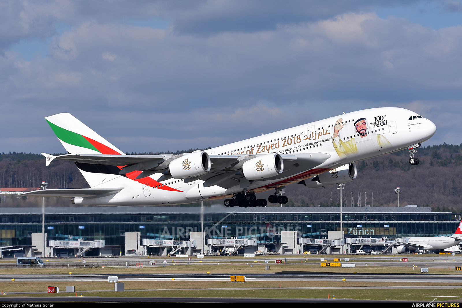Emirates Airlines A6-EUV aircraft at Zurich