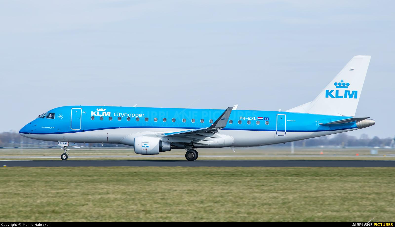 KLM Cityhopper PH-EXL aircraft at Amsterdam - Schiphol