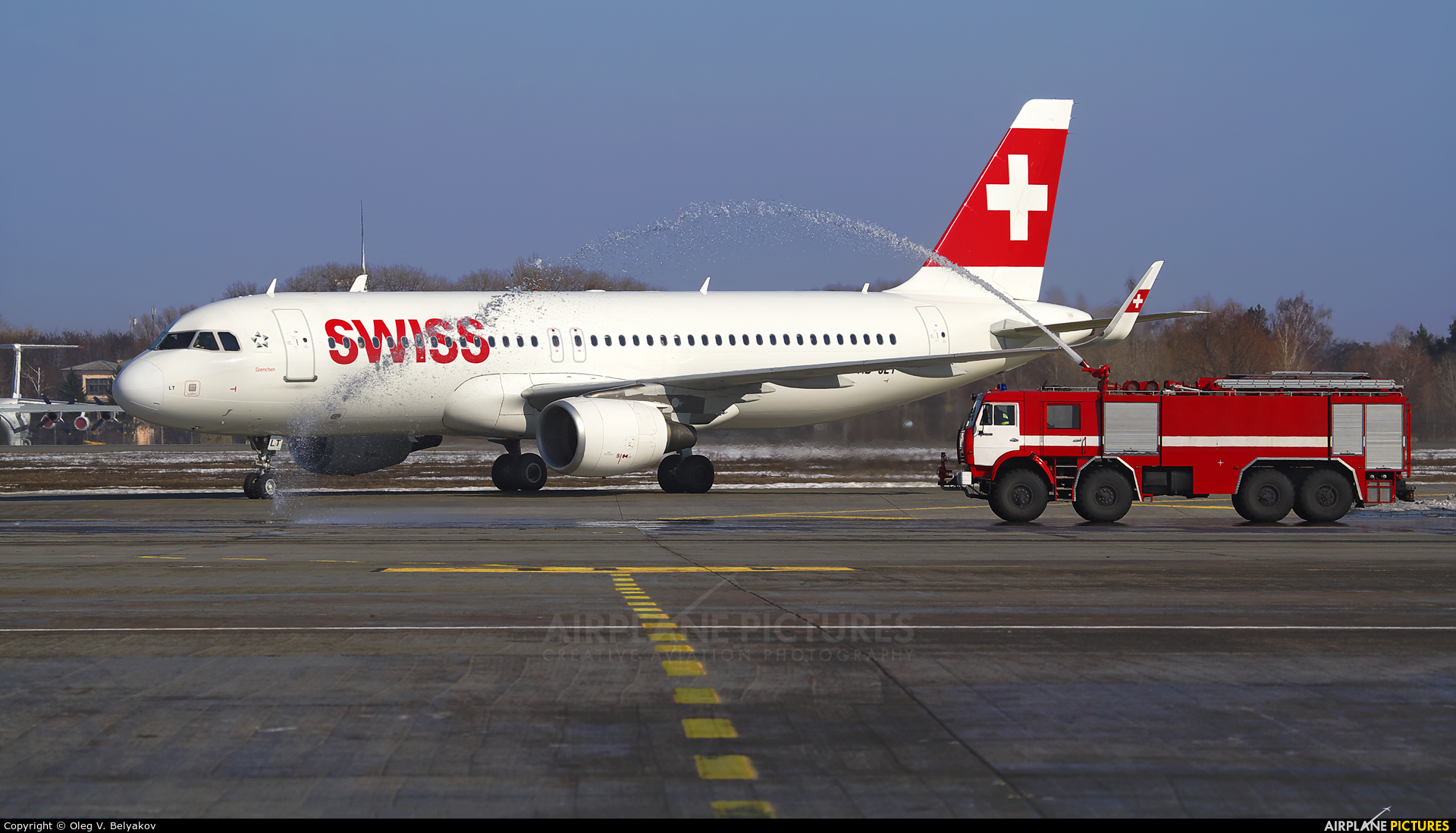Swiss HB-JLT aircraft at Kyiv - Borispol