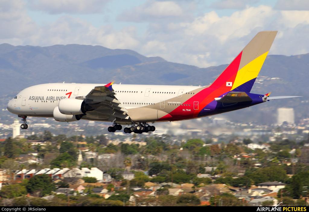 Asiana Airlines HL7641 aircraft at Los Angeles Intl