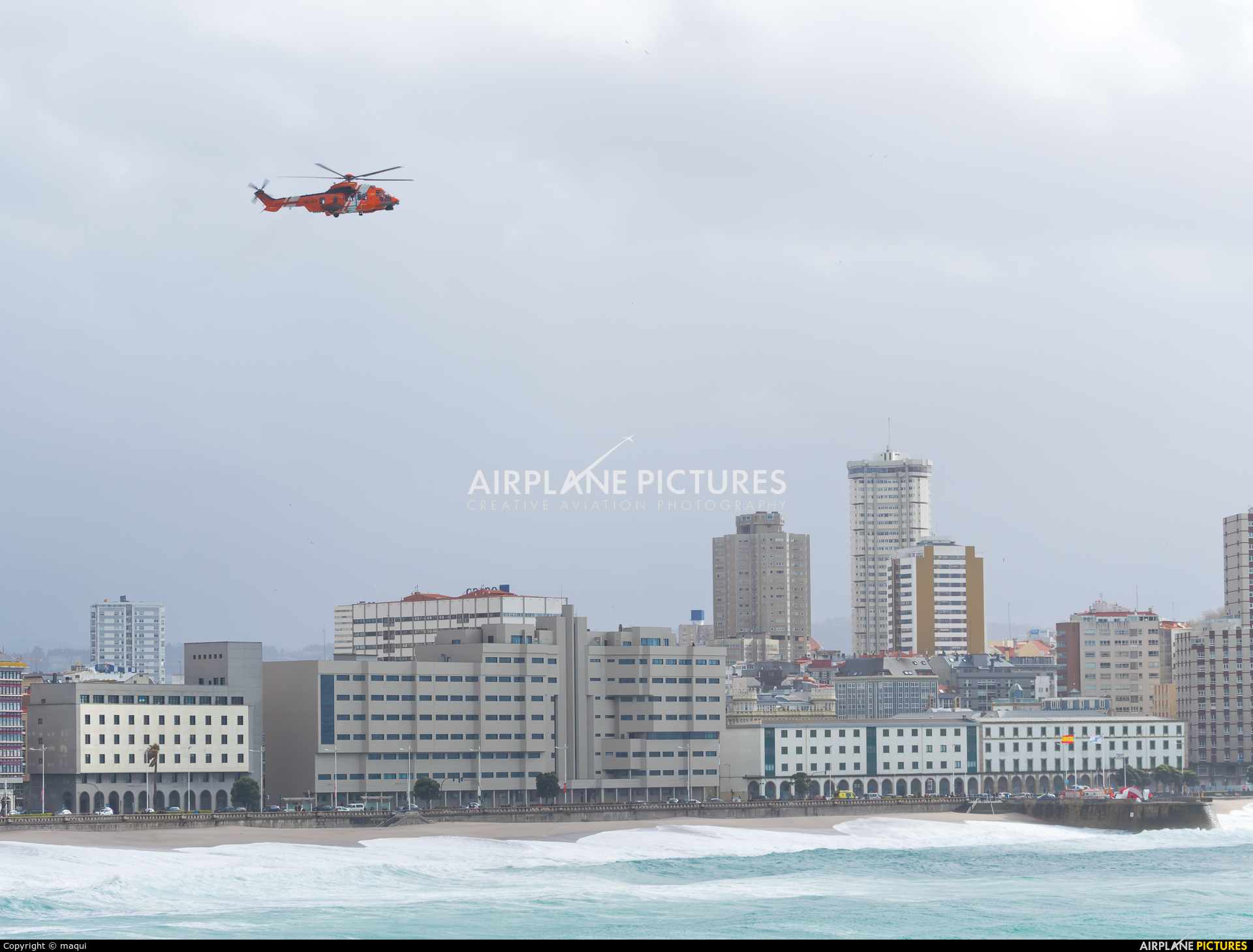 Spain - Coast Guard EC-MCR aircraft at La Coruña - Orzan Bay