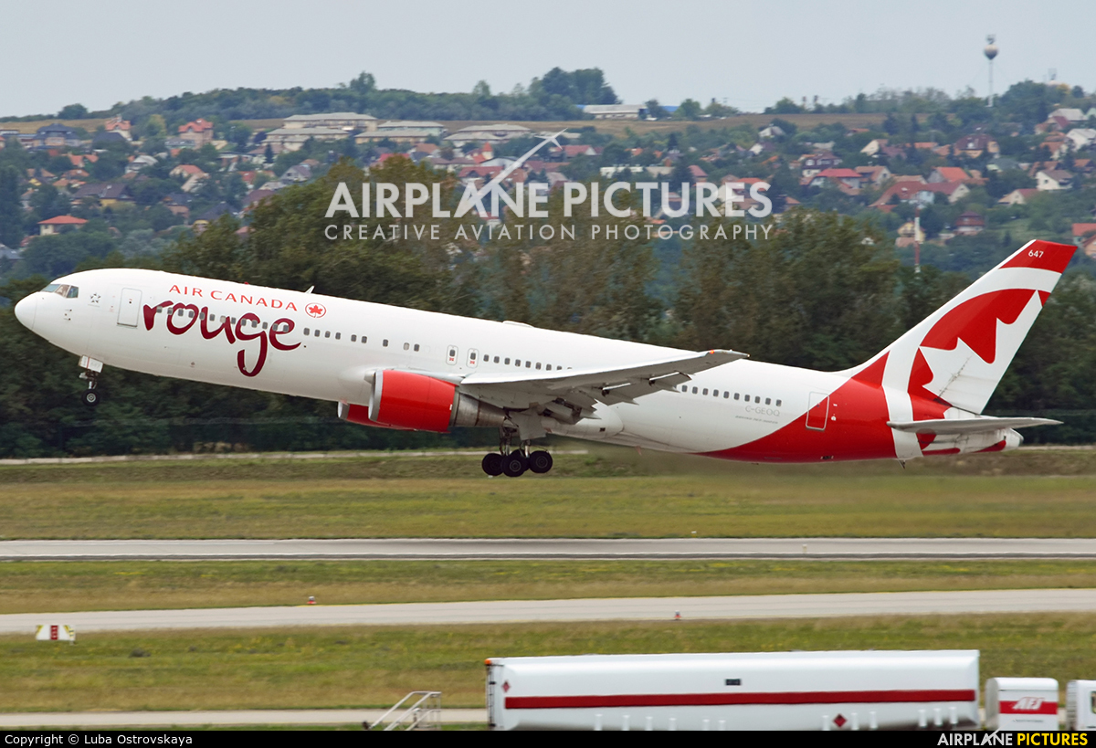 Air Canada Rouge C-GEOQ aircraft at Budapest Ferenc Liszt International Airport