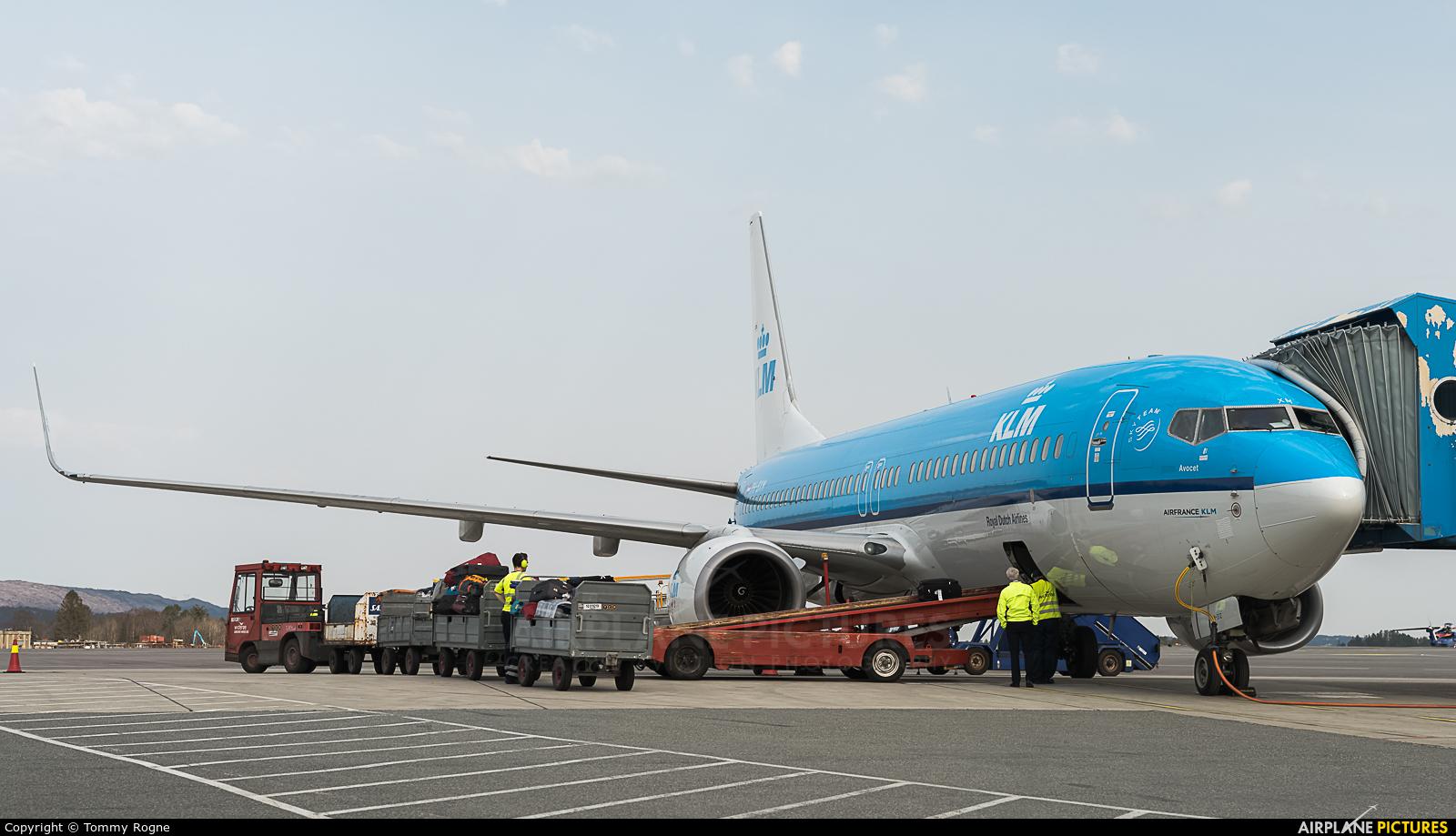 KLM PH-BXM aircraft at Bergen - Flesland