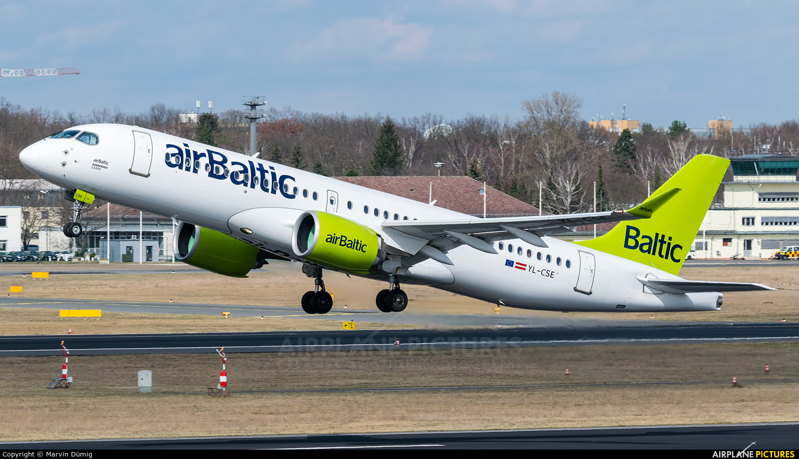 Air Baltic YL-CSE aircraft at Berlin - Tegel