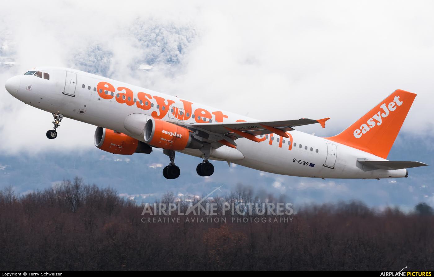 easyJet G-EZWB aircraft at Geneva Intl