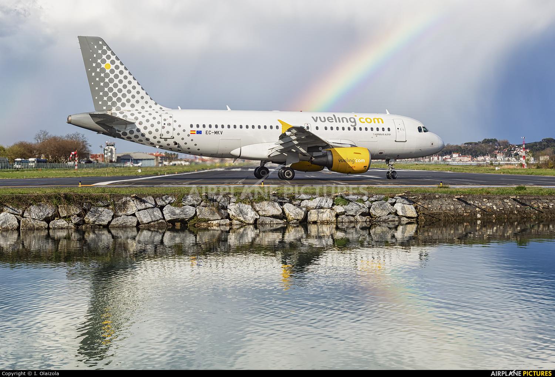 Vueling Airlines EC-MKV aircraft at San Sebastian