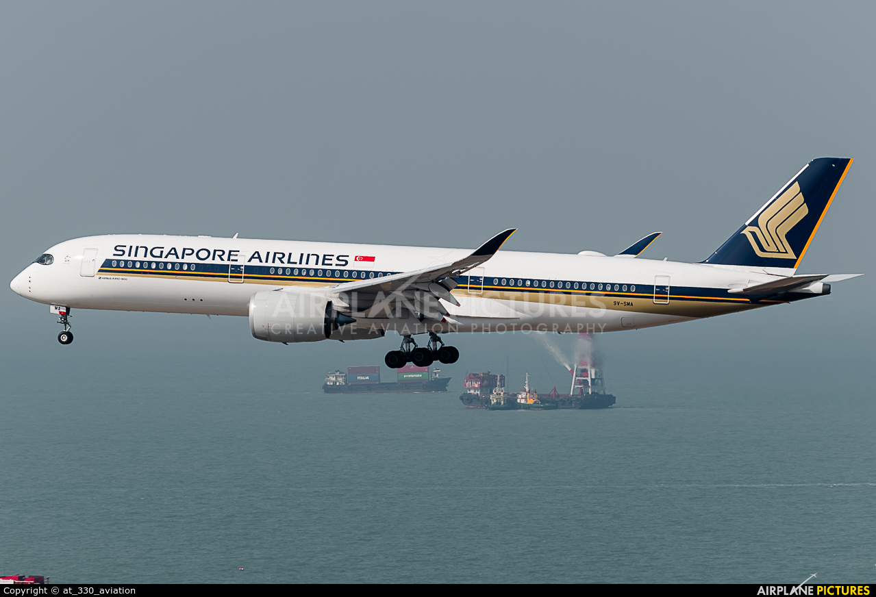 Singapore Airlines 9V-SMA aircraft at HKG - Chek Lap Kok Intl