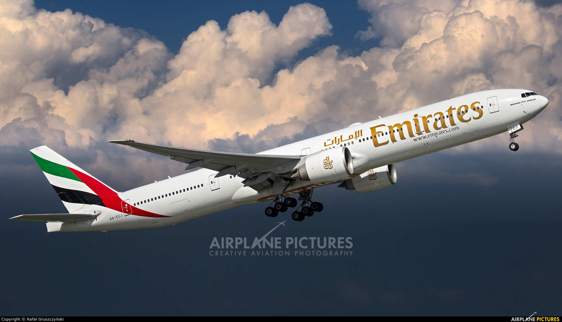 Emirates Airlines A6-ECJ aircraft at Warsaw - Frederic Chopin