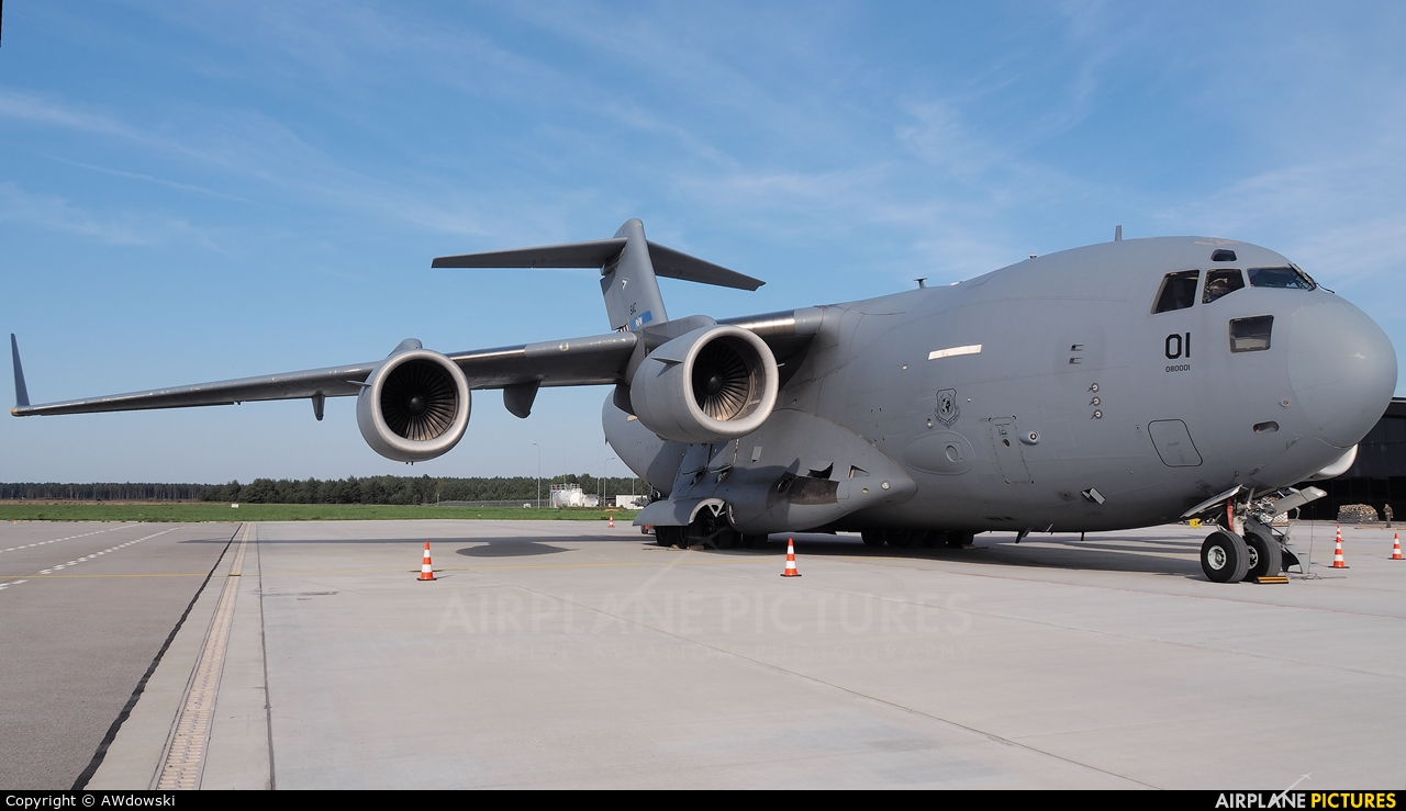 Strategic Airlift Capability NATO 08-0001 aircraft at Olsztyn Mazury Airport (Szymany)