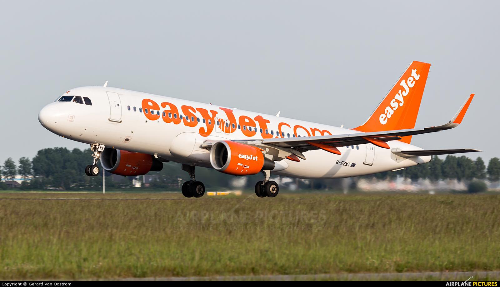 easyJet G-EZWX aircraft at Amsterdam - Schiphol