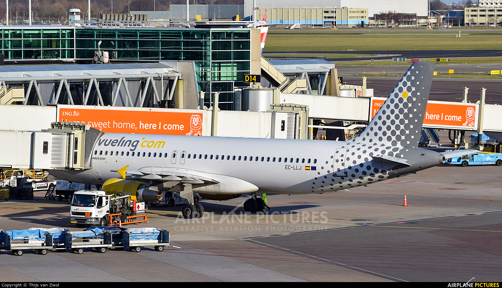 Vueling Airlines EC-LLJ aircraft at Amsterdam - Schiphol
