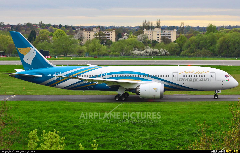 Oman Air A4O-SA aircraft at Birmingham