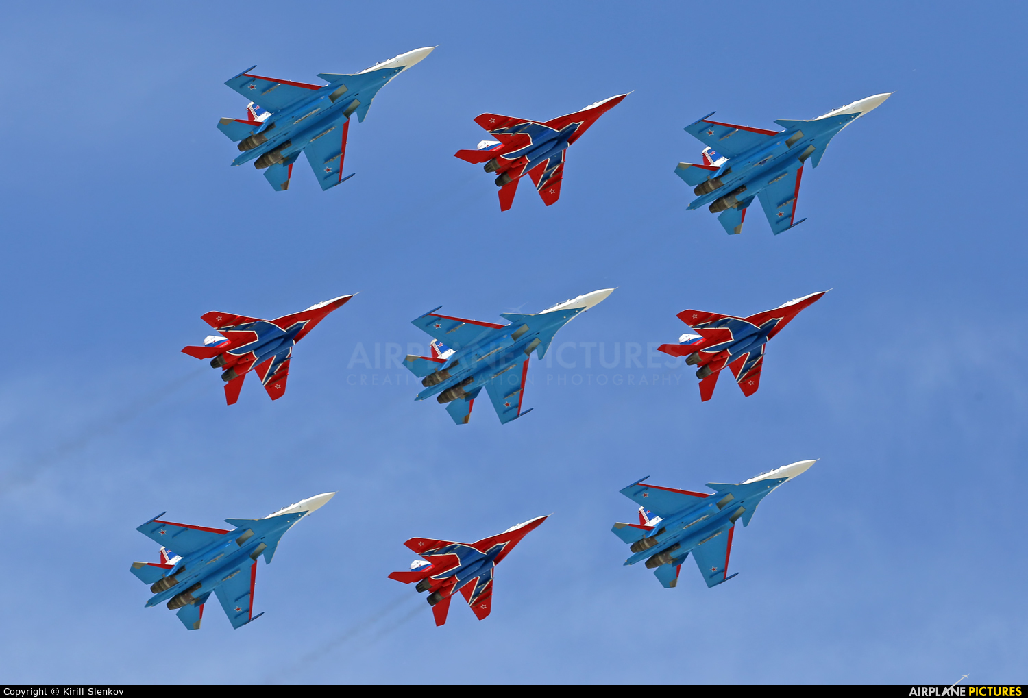 "Russia - Air Force ""Strizhi"" 31 aircraft at Moscow, Red Square"