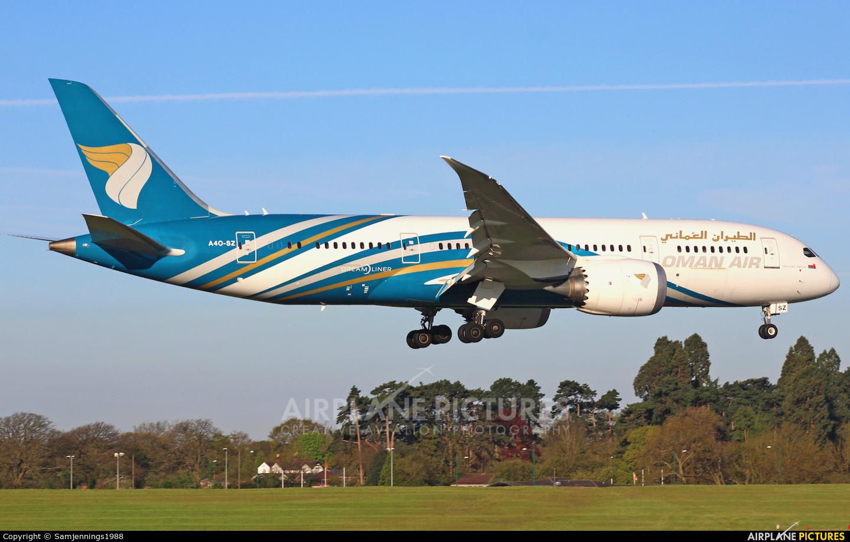 Oman Air A4O-SZ aircraft at Birmingham