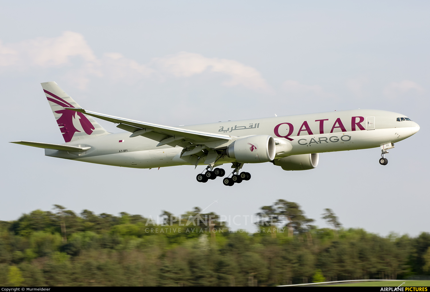 Qatar Airways Cargo A7-BFI aircraft at Luxembourg - Findel