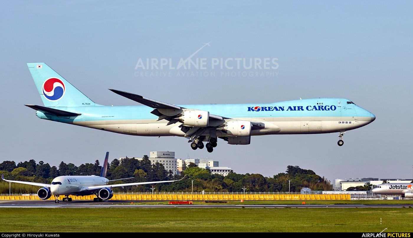 Korean Air Cargo HL7624 aircraft at Tokyo - Narita Intl