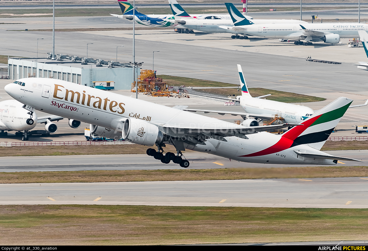 Emirates Sky Cargo A6-EFE aircraft at HKG - Chek Lap Kok Intl