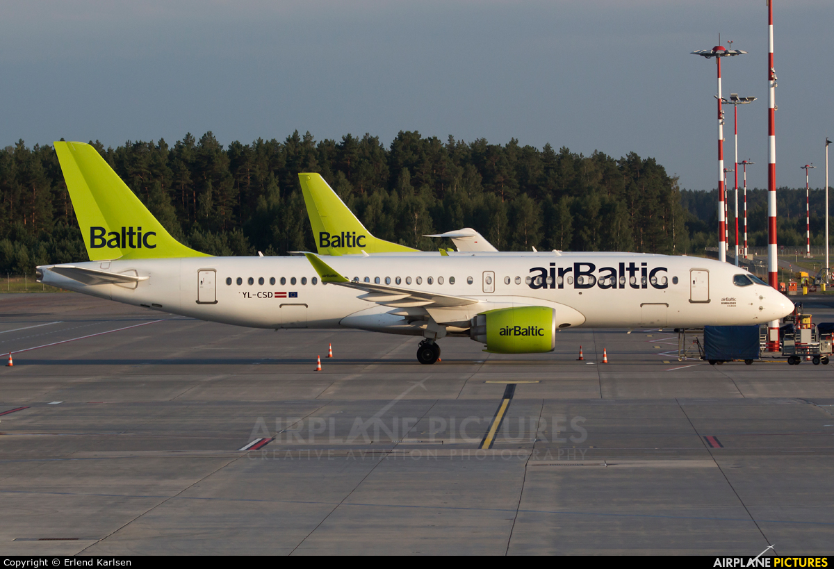 Air Baltic YL-CSD aircraft at Riga Intl