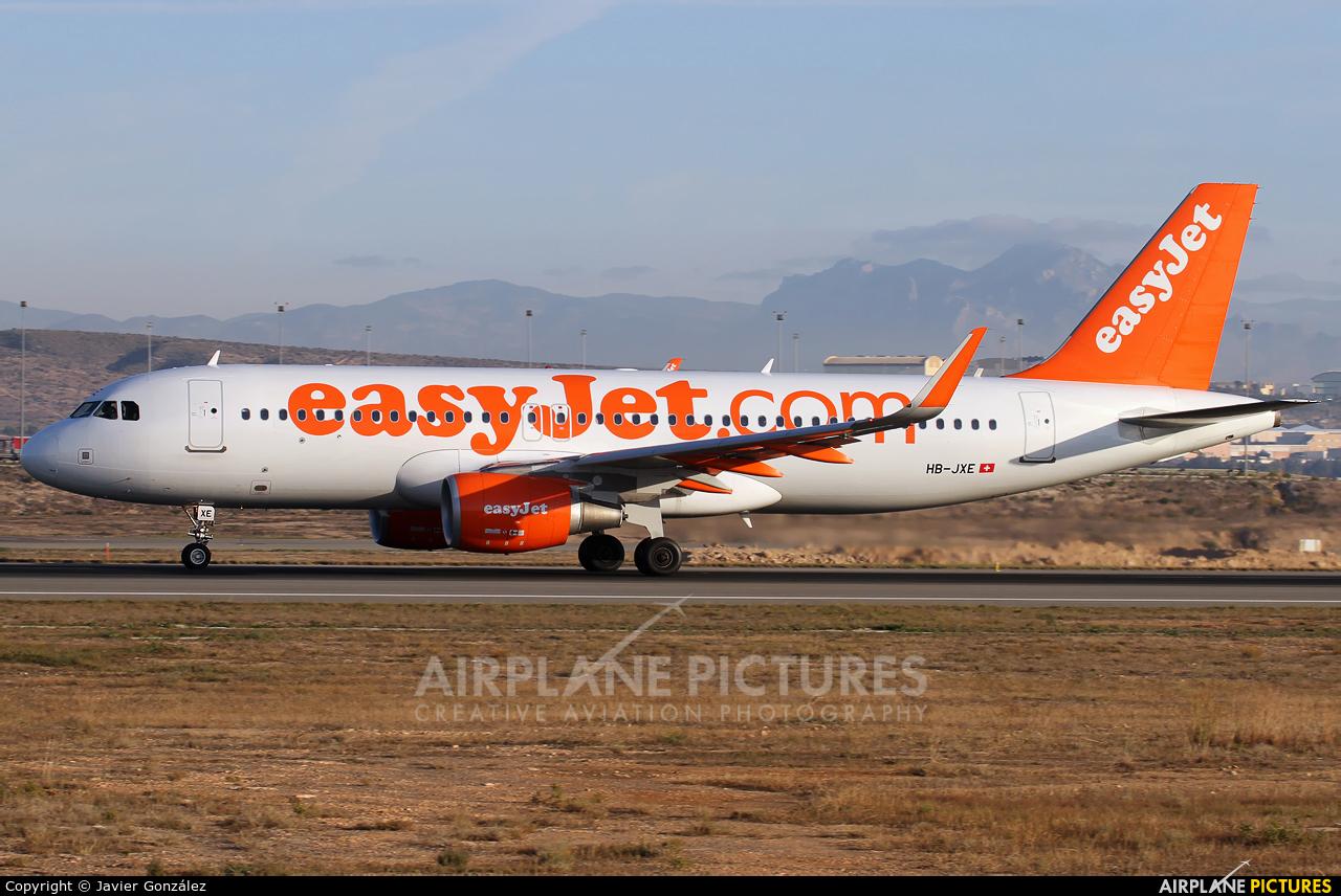 easyJet Switzerland HB-JXE aircraft at Alicante - El Altet