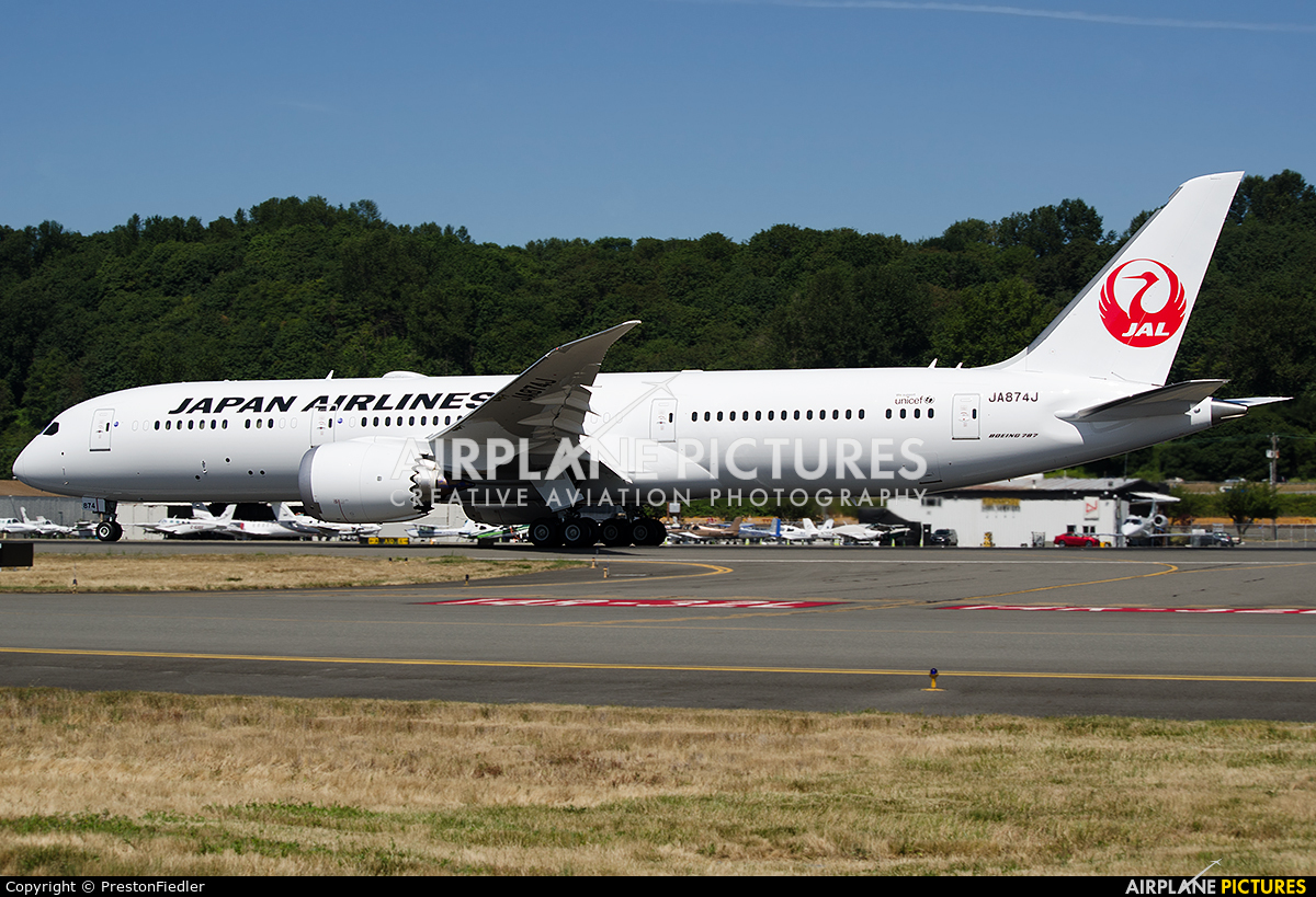 JAL - Japan Airlines JA874J aircraft at Seattle - Boeing Field / King County Intl