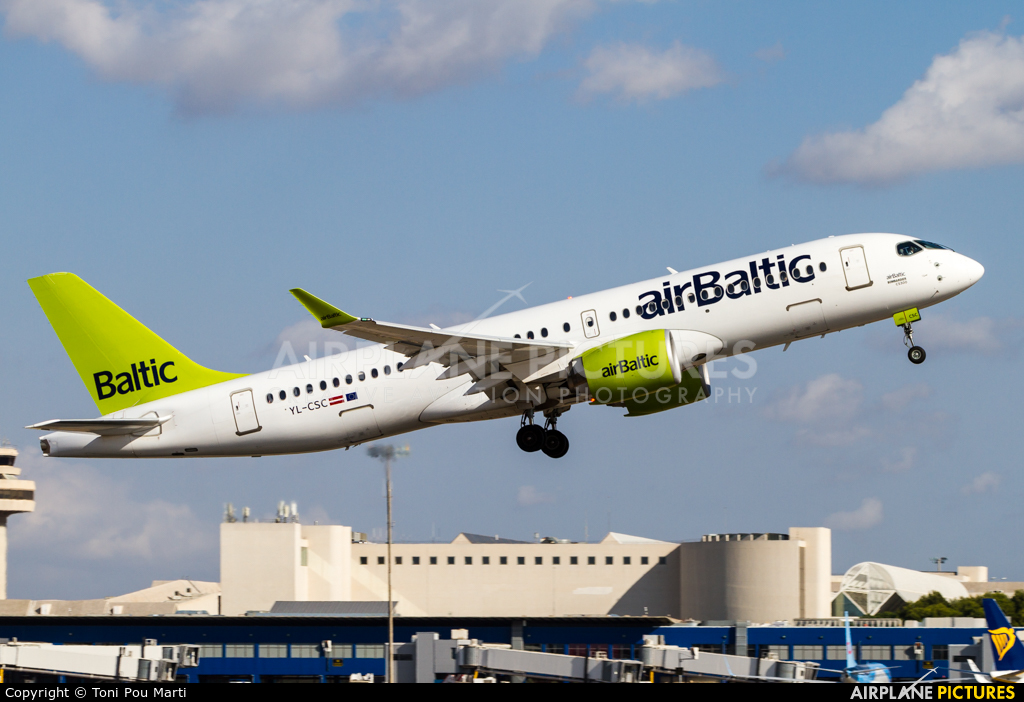 Air Baltic YL-CSC aircraft at Palma de Mallorca