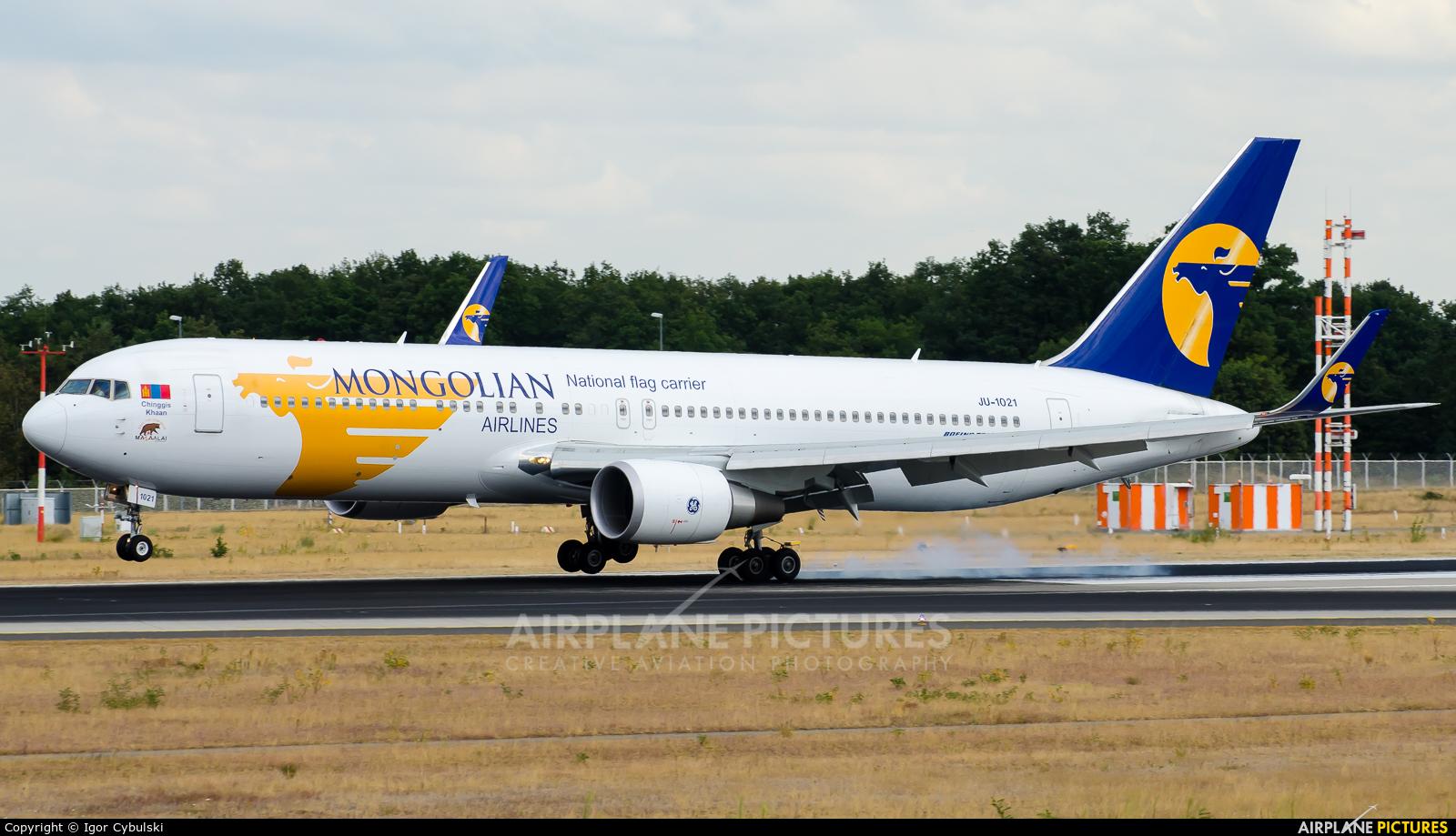 Mongolian Airlines JU-1021 aircraft at Frankfurt