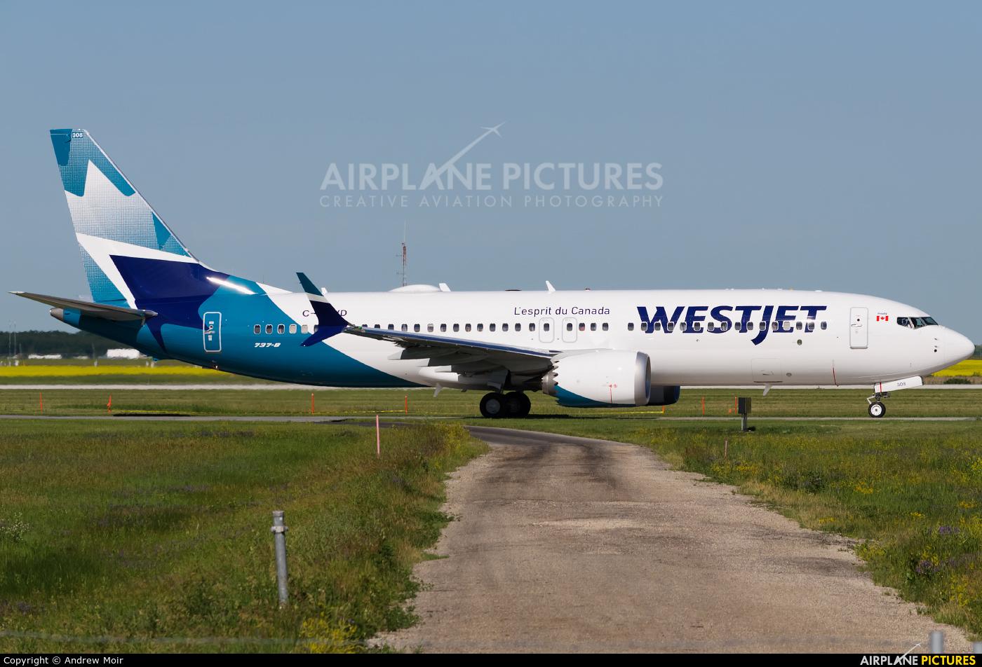 WestJet Airlines C-FNWD aircraft at Winnipeg Intl