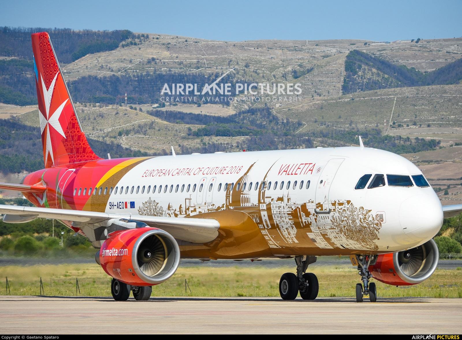 Air Malta 9H-AEO aircraft at Comiso - Sicily