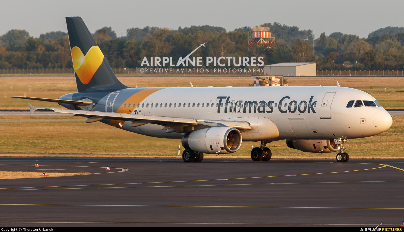 Thomas Cook LY-NVY aircraft at Düsseldorf