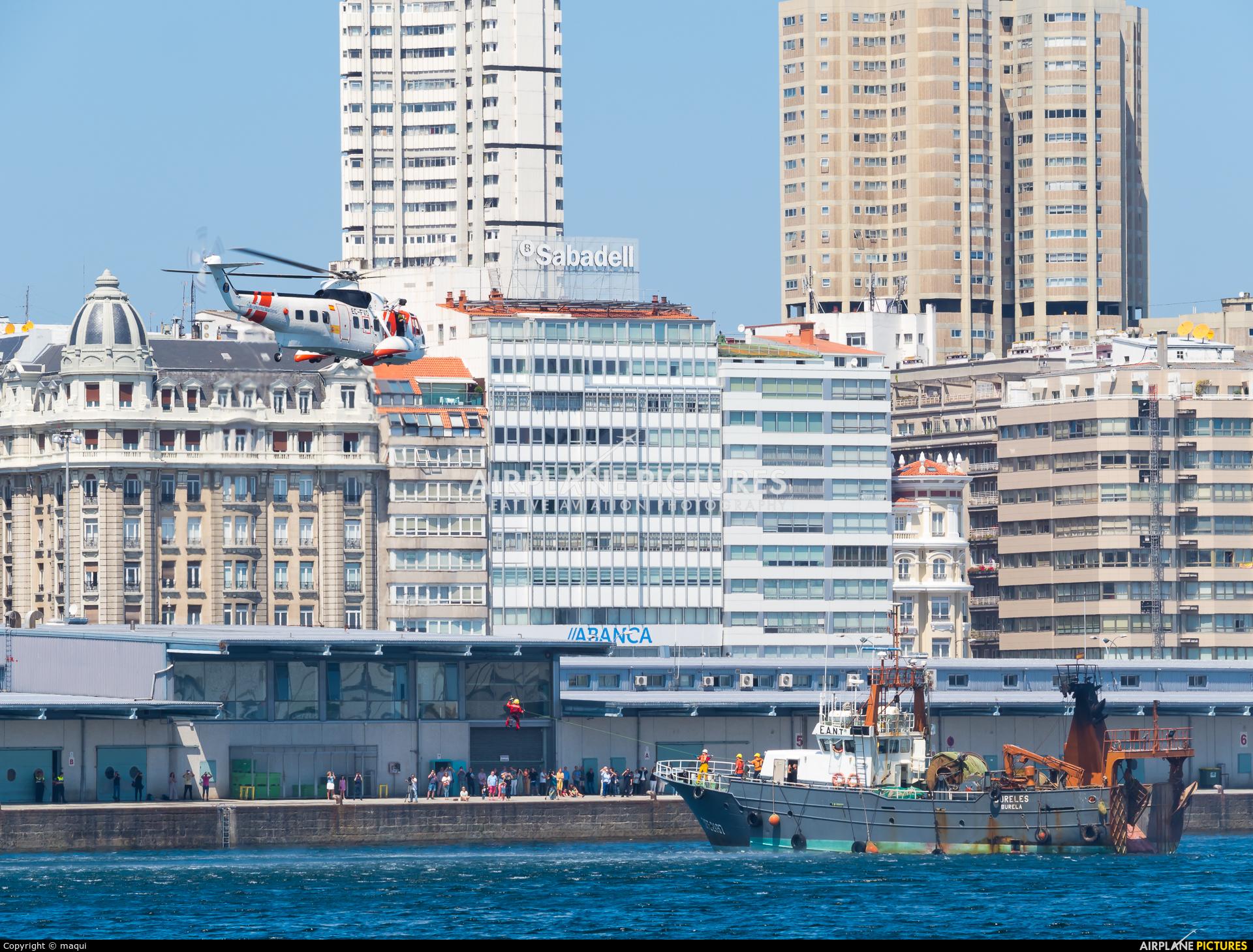 Spain - Coast Guard EC-FVO aircraft at La Coruña - City Harbour