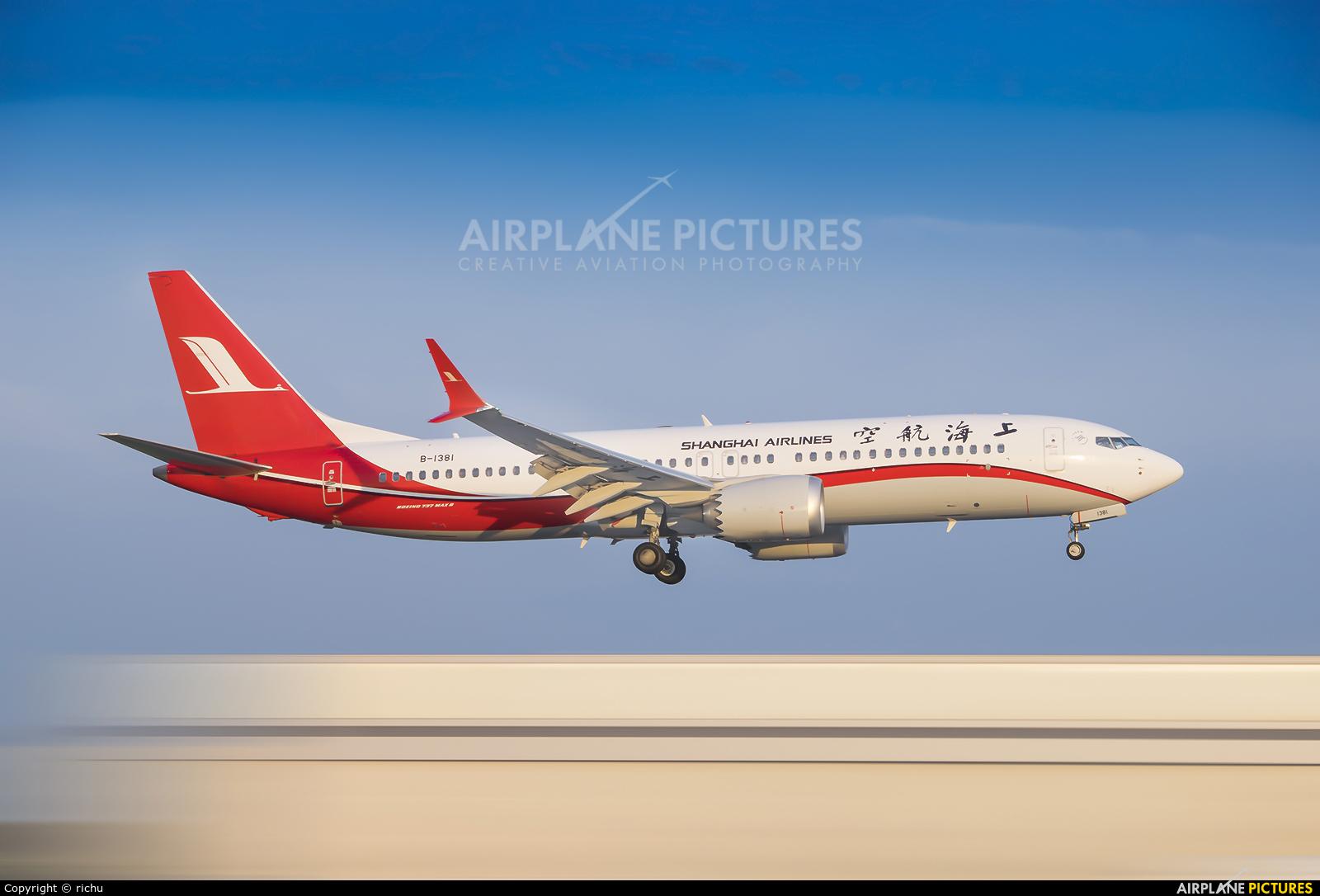 Shanghai Airlines B-1381 aircraft at Shenyang-Taoxian