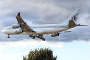 Rare visit of Qatar Amiri Airbus A340-200 to London Heathrow title=