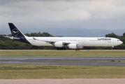 First Airbus A340-600 in new Lufthansa colours title=