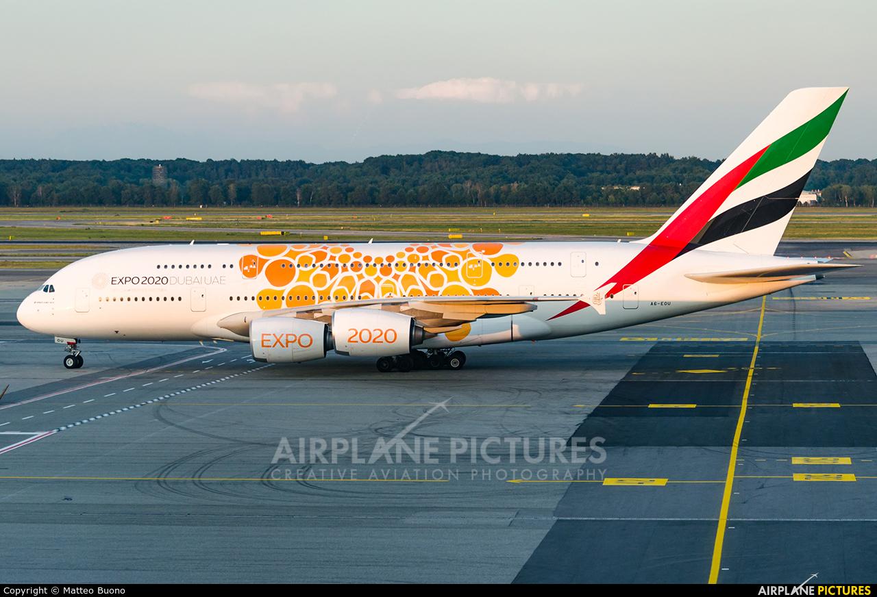 Emirates Airlines A6-EOU aircraft at Milan - Malpensa