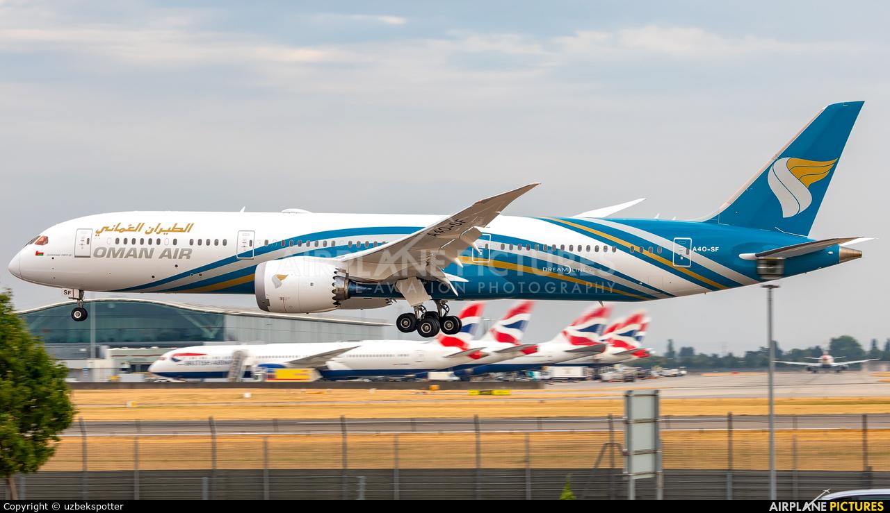 Oman Air A4O-SF aircraft at London - Heathrow