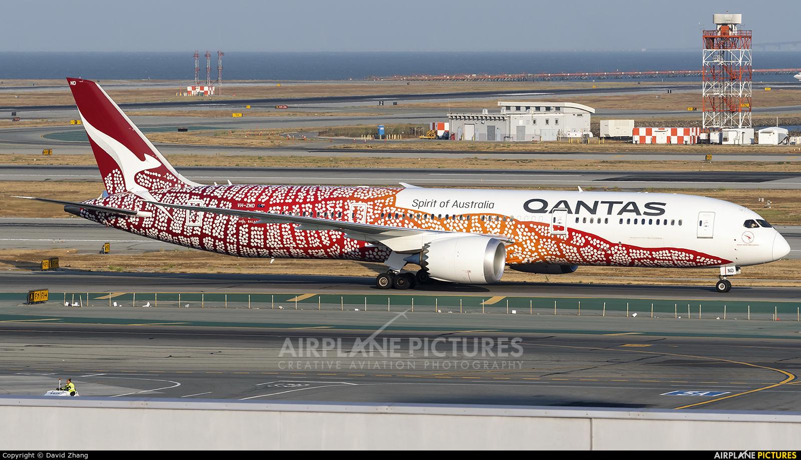 QANTAS VH-ZND aircraft at San Francisco Intl