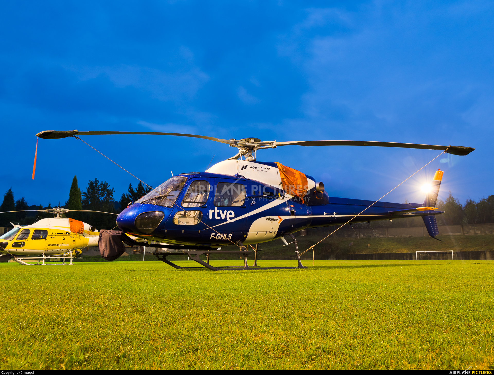 Mont Blanc Helicopteres F-GHLS aircraft at Lugo - Off Airport