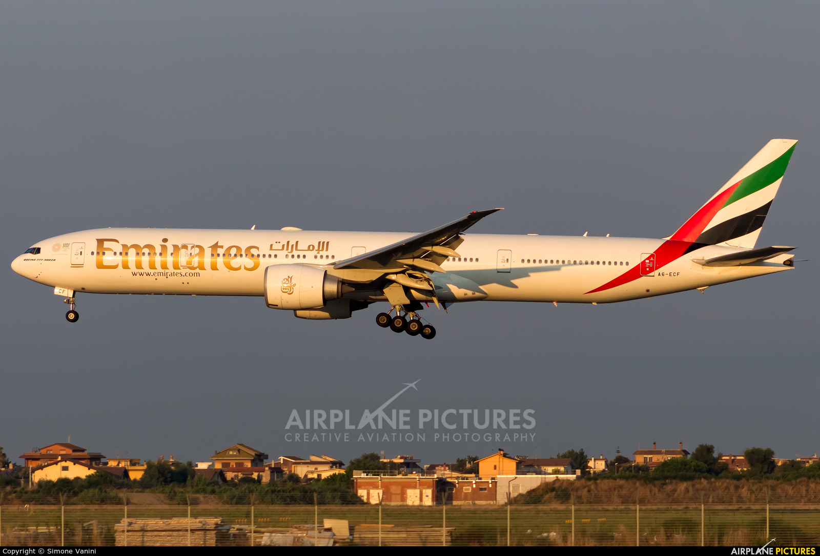 Emirates Airlines A6-ECF aircraft at Rome - Fiumicino